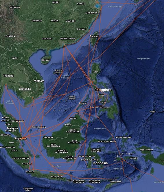 船舶情報の可視化とその分析1:東南アジアにおける蒸気船の航行ルート