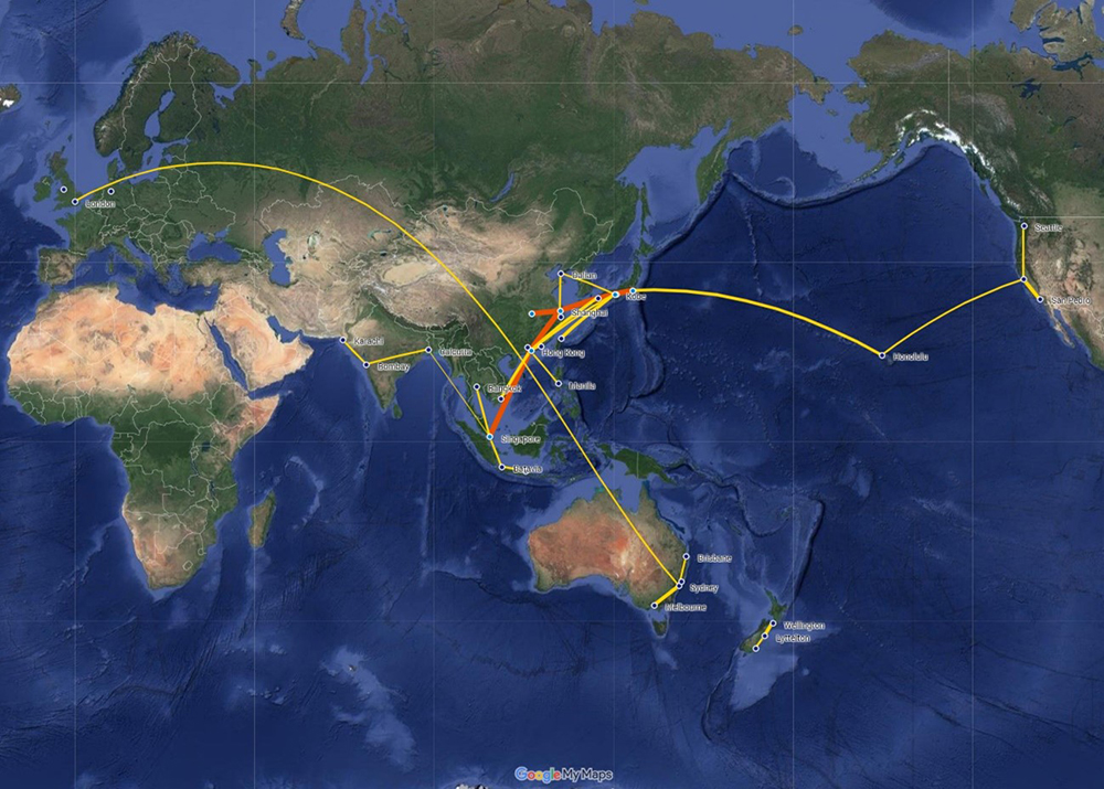 船舶情報の可視化とその分析3:1913年のアジア太平洋における蒸気船の貨物輸送量